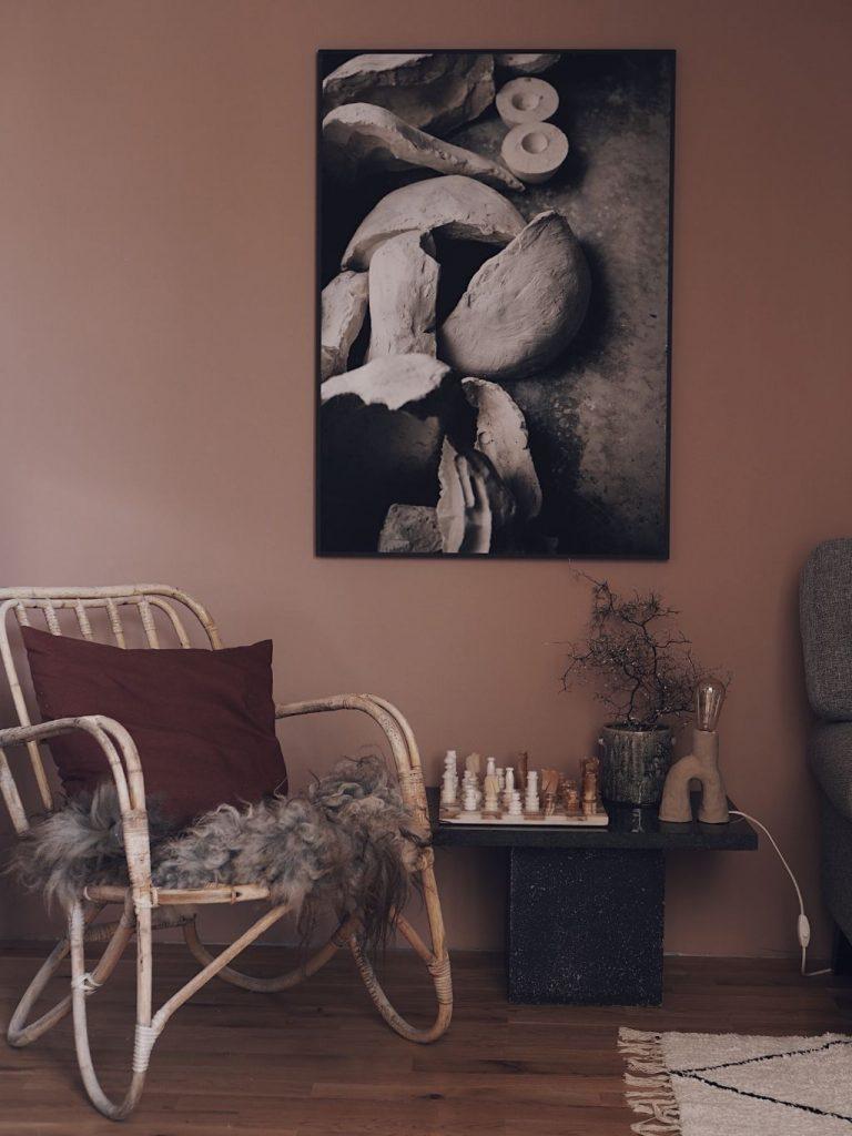 vardagsrum tvrum inredning inspiration nordsjö D2.15.55 färg rosa väggar